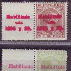 Sellos: AÑO 1898. PUERTO RICO 152 +157 SIN CHARNELA.+ BORDE HOJA.MUY RARO . Lote 184879217
