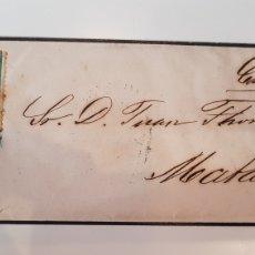 Sellos: CUBA CARTA A MATARO CATALUÑA SELLO ISABEL 1867 PARILLA AZUL. Lote 186393021
