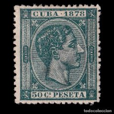 Sellos: CUBA.1878 ALFONSO XII. 50CC VERDE NEGRO.NUEVO*. EDIFIL 48.. Lote 186465348