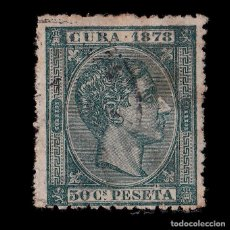 Sellos: CUBA.1878 ALFONSO XII. 50CC VERDE NEGRO.USADO. EDIFIL 48.. Lote 186465653