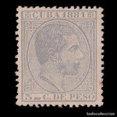 Sellos: CUBA 1881 ALFONSO XII. 5C AZUL GRIS. NUEVO*. EDIFIL.65.. Lote 186469508