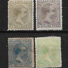 Sellos: PUERTO RICO 1891 EDIFIL 86-87- 89 Y 91 * - 3/2. Lote 187217670