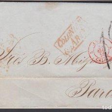Sellos: CARTA CIRCULADA HABANA - PARIS, MARCA COLONIES, EN ROJO, TASADA, . Lote 187454065