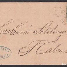 Sellos: CARTA, CARDENAS - HABANA , 22 MAR.1865, FECHADOR DE CARDENAS, . Lote 187454547
