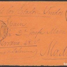 Sellos: ENVUELTA CIRCULADA DE LA HABANA - MADRID, VIA ESTADOS UNIDOS, 10 ABR. 1884. Lote 187455395