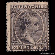 Selos: PUERTO RICO.1890.ALFONSO XIII.1/2 M.NEGRO.USADO.EDIFIL.71. Lote 189611408