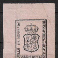Sellos: SELLO DE REFRENDO DE PASAPORTES DE NACIONALES 12 RS. FUES. - 15/7. Lote 189644223