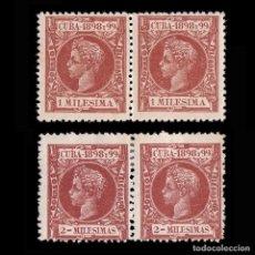 Francobolli: CUBA 1898. ALFONSO XIII.1M-2M BLQ 2..NUEVO** MN.EDIFIL.154-155. Lote 190766646