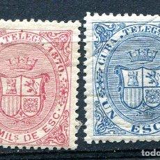 Timbres: EDIFIL 8 Y 9 DE TELÉGRAFOS DE CUBA. AÑO 1870. NUEVOS CON FIJASELLOS. Lote 193003435