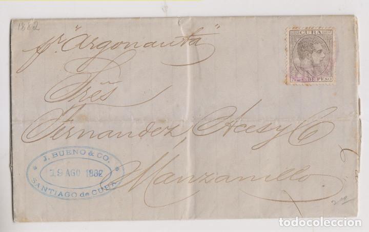 CARTA ENTERA. A SANTIAGO DE CUBA. 1882. POR EL VAPOR ARGONAUTA (Sellos - España - Colonias Españolas y Dependencias - América - Cuba)