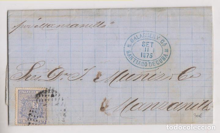 CARTA ENTERA. SANTIAGO DE CUBA. 1875. POR EL VAPOR MANZANILLO (Sellos - España - Colonias Españolas y Dependencias - América - Cuba)