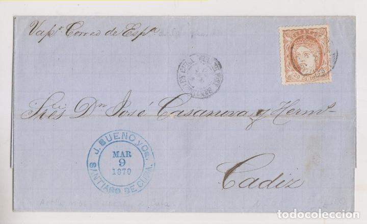 ENVUELTA. SANTIAGO DE CUBA A CÁDIZ. 1870. VAPOR CORREO DE ESPAÑA (Sellos - España - Colonias Españolas y Dependencias - América - Cuba)