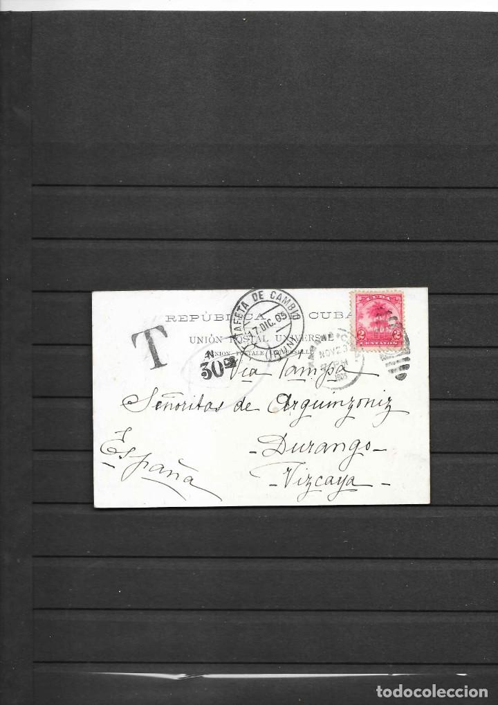 CUBA 1905 OCUPACION NORTEAMERICANA POSTAL CIRCULADA A ESPAÑA MULTADA 30 CENTIMOS INMIGRANTE ESPAÑOL (Sellos - España - Colonias Españolas y Dependencias - América - Cuba)