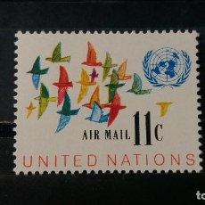 Sellos: SELLO NUEVO. NACIONES UNIDAS OFICINA N. YORK. CORREO AEREO. 1 MAYO 1972. YVERT PA16.. Lote 194197487