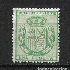 Sellos: ESPAÑA CUBA TELEGRAFOS 1878 EDIFIL 43 * - 2/9. Lote 195004830