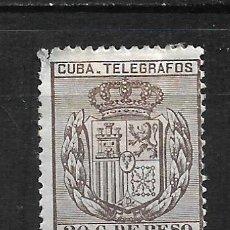 Sellos: ESPAÑA CUBA TELEGRAFOS 1889 EDIFIL 70 * - 2/9. Lote 195005073