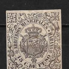 Sellos: ESPAÑA CUBA ARBITRIOS MUNICIPALES HABANA 15 C. DE PESO * - 2/9. Lote 195005790