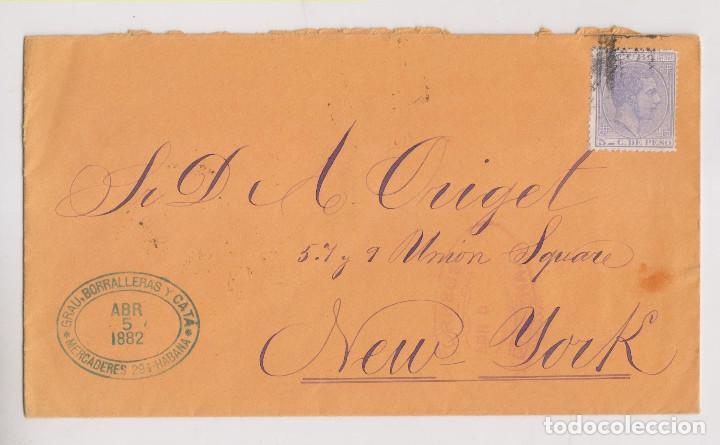 SOBRE. HABANA, CUBA. A NUEVA YORK. 1882 (Sellos - España - Colonias Españolas y Dependencias - América - Cuba)