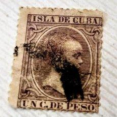 Sellos: SELLO ISLA DE CUBA 1890 ALFONSO XIII 1 CENTAVO CASTAÑO VIOLETA Nº 112. Lote 198161025