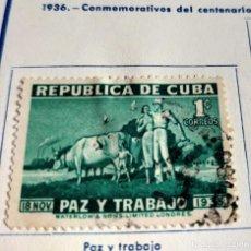 Sellos: SELLO REPÚBLICA DE CUBA 1936 PAZ Y TRABAJO CENTENARIO DEL NACIMIENTO DEL GENERAL MÁXIMO GÓMEZ. Lote 198224806