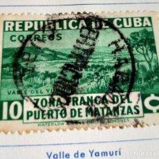 Sellos: SELLO REP. DE CUBA 1936- ESTABLECIMIENTO DE LA ZONA FRANCA DEL PUERTO DE MATANZAS - VALLE YUMAMI. Lote 198227615