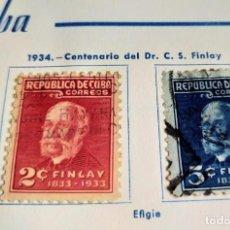 Sellos: 2 SELLOS REP. DE CUBA 1934 CENTENARIO DEL DR. C. S. FINLAY SERIE COMPLETA DE 2 Y 3 CENTAVOS. Lote 198228826