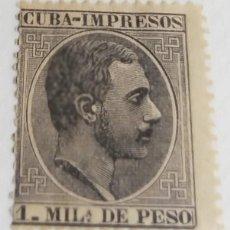 Sellos: SELLO DE CUBA 1883-1988 ALFONSO XIII 1 M. NEGRO Nº 90. Lote 198235997
