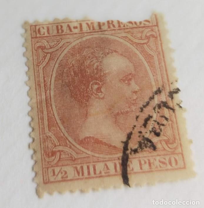 SELLO CUBA 1890 ALFONSO XIII ½ M. Nº 106 CASTAÑO ROJIZO (Sellos - España - Colonias Españolas y Dependencias - América - Cuba)