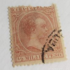 Sellos: SELLO CUBA 1890 ALFONSO XIII ½ M. Nº 106 CASTAÑO ROJIZO. Lote 198239725