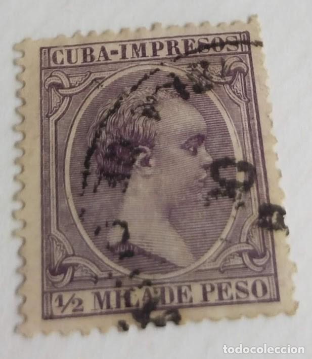 SELLO CUBA 1891 – 1892 Nº 118 1/2 M. ALFONSO XIII VIOLETA NEGRUZCO (Sellos - España - Colonias Españolas y Dependencias - América - Cuba)