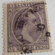 Sellos: SELLO CUBA 1891 – 1892 Nº 118 1/2 M. ALFONSO XIII VIOLETA NEGRUZCO. Lote 198241475