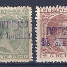 Sellos: PUERTO RICO 1898. SELLOS CON SOBRECARGA IMPUESTO DE GUERRA. LOTE DE 4. MH *. Lote 198351755