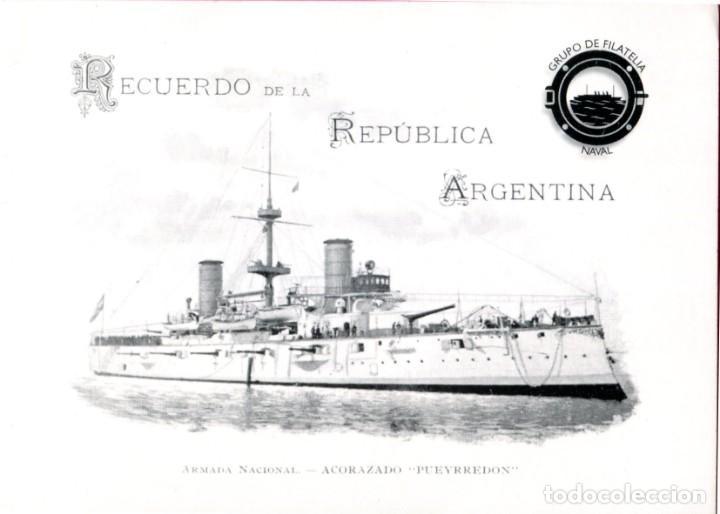 RECUERDO DE LA REPUBLICA ARGENTINA - ARMADA NACIONAL ACORAZADO PUEYRREDON -TEMA: NAVAL (Sellos - España - Colonias Españolas y Dependencias - América - Otros)