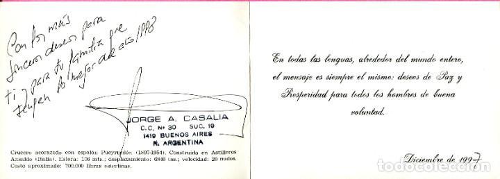 Sellos: recuerdo de la republica argentina - Armada nacional Acorazado PUEYRREDON -TEMA: NAVAL - Foto 2 - 198933947