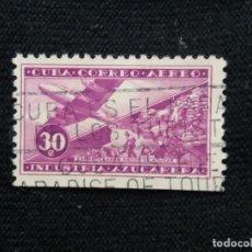 Sellos: SELLO AEREO CUBA, 30 C, INDUSTRIA AZUCARERA, AÑO 1931. Lote 198944583