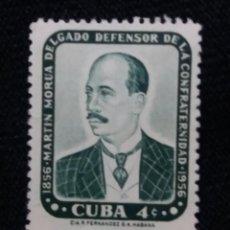 Sellos: SELLO CUBA, 4 C, MARTIN MORUA, AÑO 1957. Lote 198946237