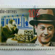 Sellos: CUBA 2008 THE 120TH ANNIVERSARY OF THE BIRTH OF JOSE RAUL CAPABLANCA, 1888-1942 - SPORT, CHESS. USE. Lote 199063407
