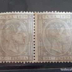 Sellos: CUBA , EDIFIL 54 *, EN PAREJA, YVERT 32, 1879. Lote 199190723