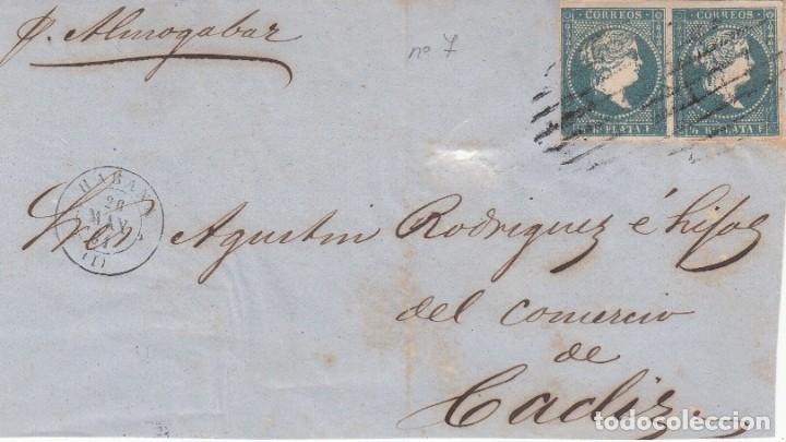 FRONTAL CON PAREJA DE SELLOS DE LAS ANTILLAS NUM. 7 MATASELLOS LA HABANA -1861 ---VAPOR ALMOGAVAR (Sellos - España - Colonias Españolas y Dependencias - América - Antillas)