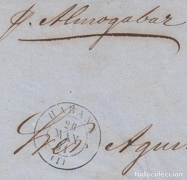 Sellos: FRONTAL CON PAREJA DE SELLOS DE LAS ANTILLAS NUM. 7 MATASELLOS LA HABANA -1861 ---VAPOR ALMOGAVAR - Foto 2 - 200766435