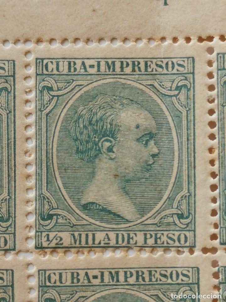 Sellos: PLANCHA CON 200 SELLOS MEDIA MILÉSIMA DE PESO 1896 - ISLA DE CUBA - ALFONSO XIII - RARÍSIMA PLANCHA - Foto 10 - 203216313