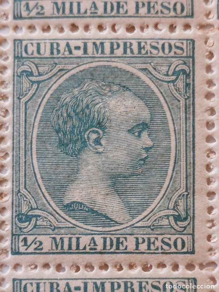 Sellos: PLANCHA CON 200 SELLOS MEDIA MILÉSIMA DE PESO 1896 - ISLA DE CUBA - ALFONSO XIII - RARÍSIMA PLANCHA - Foto 11 - 203216313