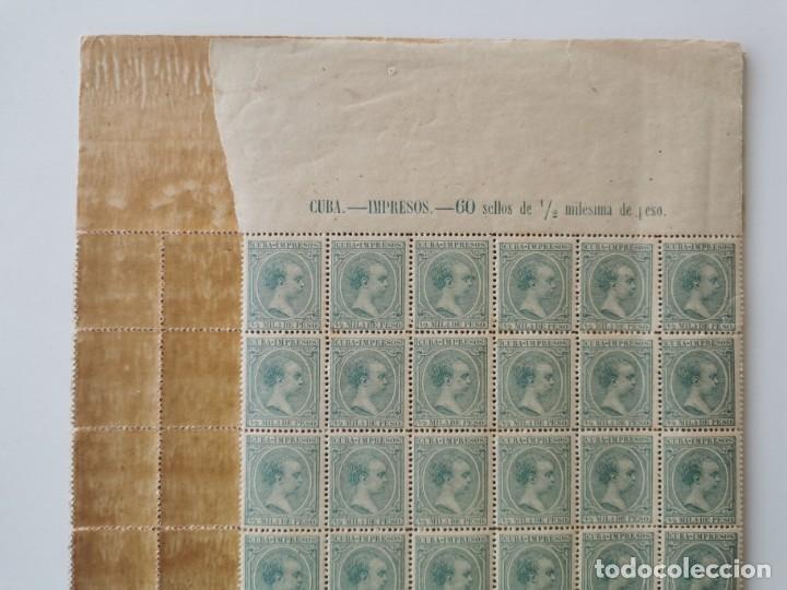 Sellos: PLANCHA CON 200 SELLOS MEDIA MILÉSIMA DE PESO 1896 - ISLA DE CUBA - ALFONSO XIII - RARÍSIMA PLANCHA - Foto 23 - 203216313