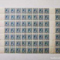 Sellos: PLANCHA CON 77 SELLOS 5 CENTAVOS DE PESO 1891 - ISLA DE CUBA - ALFONSO XIII - RARÍSIMA PLANCHA. Lote 203438348