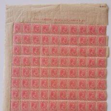 Sellos: PLANCHA CON 100 SELLOS 2,5 CENTAVOS DE PESO 1891 - ISLA DE CUBA - ALFONSO XIII - RARÍSIMA PLANCHA. Lote 203438660
