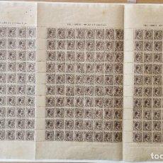 Sellos: PLANCHA CON 100 SELLOS 1 CENTAVOS DE PESO 1890 - ISLA DE CUBA - ALFONSO XIII - EDIFIL 112 - RARÍSIMA. Lote 203439216