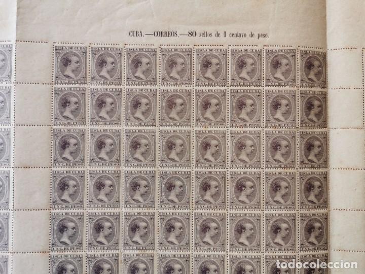 Sellos: PLANCHA CON 100 SELLOS 1 CENTAVOS DE PESO 1890 - ISLA DE CUBA - ALFONSO XIII - EDIFIL 112 - RARÍSIMA - Foto 2 - 203439216