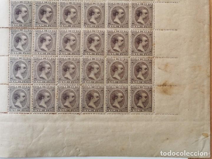 Sellos: PLANCHA CON 100 SELLOS 1 CENTAVOS DE PESO 1890 - ISLA DE CUBA - ALFONSO XIII - EDIFIL 112 - RARÍSIMA - Foto 6 - 203439216