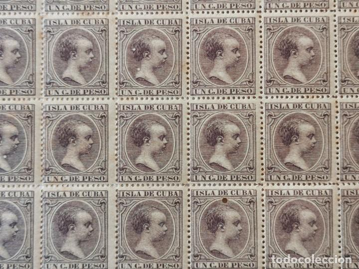Sellos: PLANCHA CON 100 SELLOS 1 CENTAVOS DE PESO 1890 - ISLA DE CUBA - ALFONSO XIII - EDIFIL 112 - RARÍSIMA - Foto 8 - 203439216