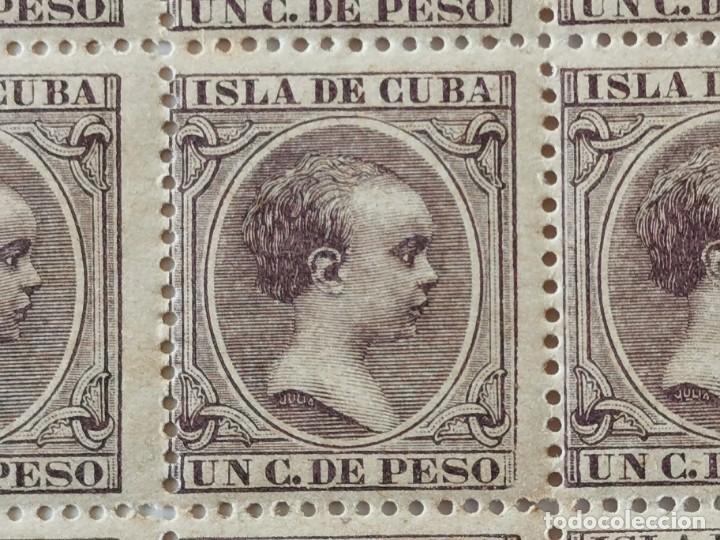 Sellos: PLANCHA CON 100 SELLOS 1 CENTAVOS DE PESO 1890 - ISLA DE CUBA - ALFONSO XIII - EDIFIL 112 - RARÍSIMA - Foto 9 - 203439216